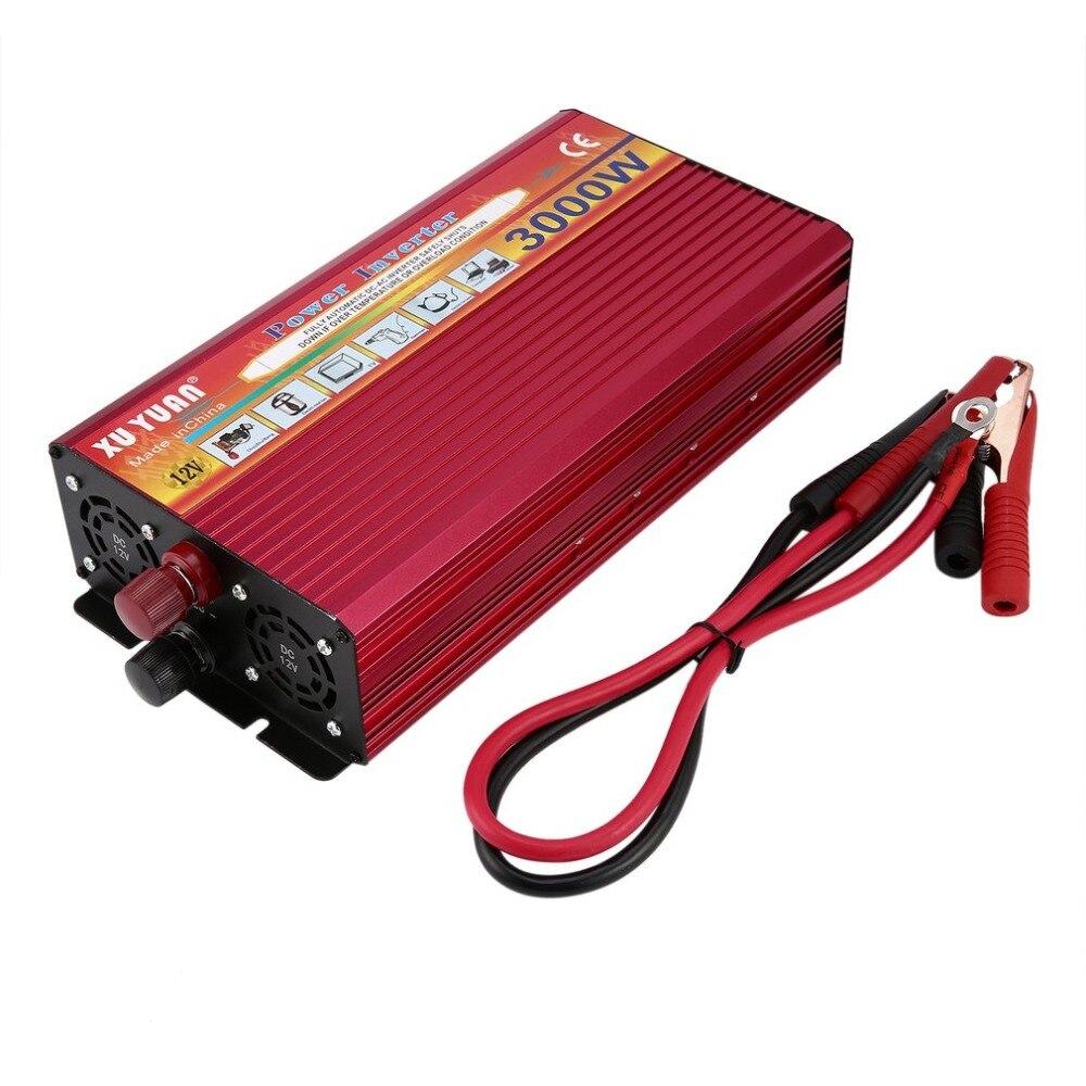 Professionnel 3000W onduleur DC 12V à AC 110 V/220 V avec indicateur LED lumière ventilateur refroidissement universel prise voiture convertisseur