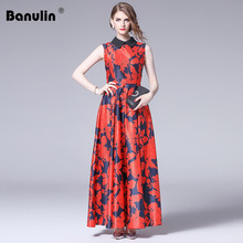 Banulin Newest Summer Fashion 2019 Designer Runway Maxi Dress Womens Sleeveless Gorgeous Floral Printed Casual Long