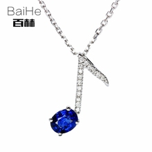 BAIHE Solid 14K White Gold 0.40CT Certified Genuine Natural Sapphire Wedding Women Cute/Romantic Fine Jewelry Elegant Necklaces