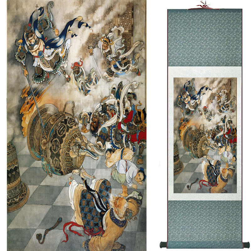 The monkey king caused havoc in heaven art painting silk scroll painting Monkey King Wreaks Havoc in Heaven painting 2018082446(China)