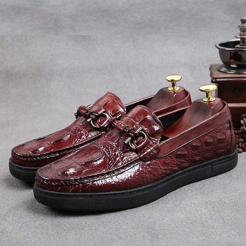 Preto À Couro Plataforma Confortáveis Vinho Dos Em Toe Mão Homens vermelho Deslizamento New Feitos Ss295 Rodada Homem De Casuais Sapatos Jacaré Genuíno Plana Calçado q6zp1