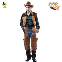Men Western Cowboy Costume Stage Performance Vest Pants Carnival Party Adult Male Cosplay Outfits Clothing Halloween