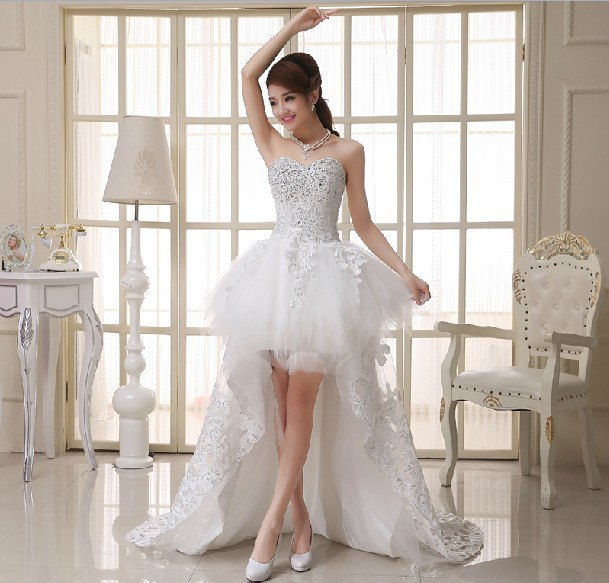 Online Shop 2015 New European And American Korean Lace Wedding Dress Tutu Princess Big Yards Short In Front Long Tail F1 Spring