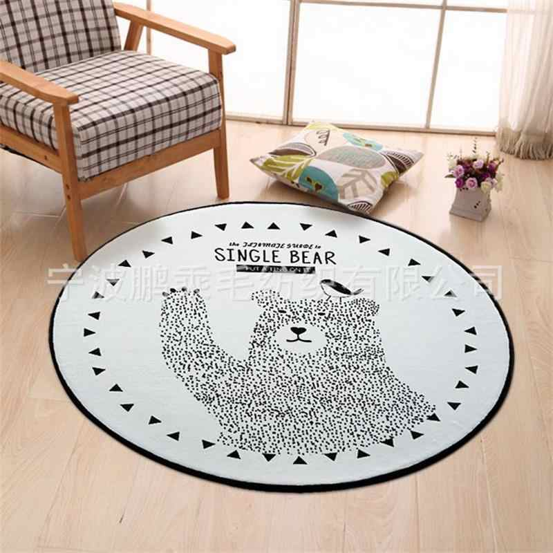 Round Black White Bear Carpet Kids Room Computer Chair Area