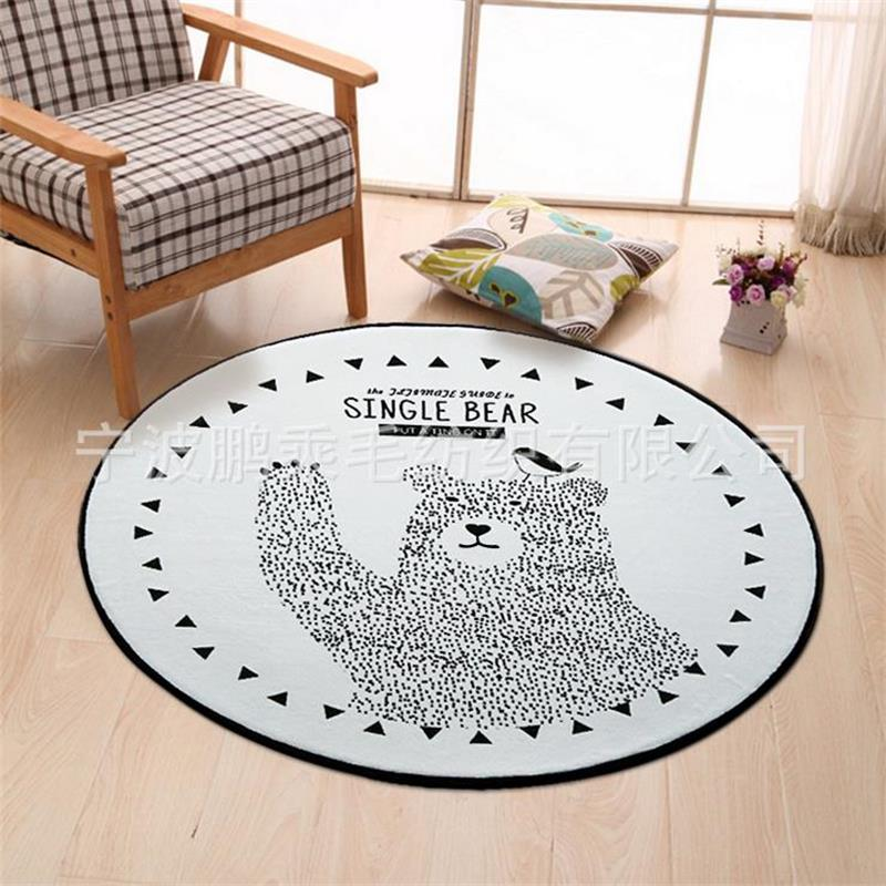 Round black white bear carpet kids room computer chair for Round rugs for kids