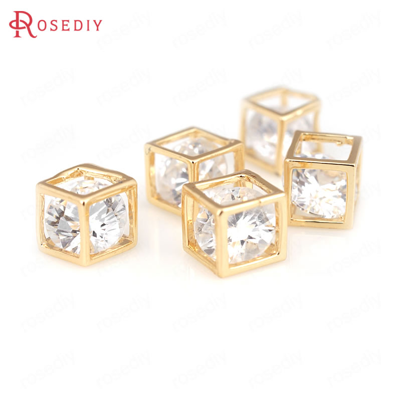6PCS 5MM 6MM 8MM 24K Champagne Gold Color Plated Brass with Zircon Cube Charms Pendants High Quality Diy Jewelry Accessories