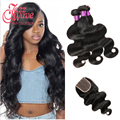 8a Malaysian Body Wave With Closure 3 Bundles with Closure virgo hair company bundle with closure body wave with closure