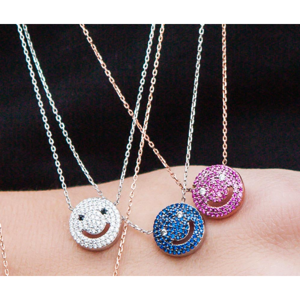 Fashion 2017 new arrive 925 sterling silver smiley face necklace fashion 2017 new arrive 925 sterling silver smiley face necklace with crystal jewelry zirconia micro pendant in chain necklaces from jewelry accessories aloadofball
