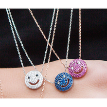 fashion 2017 new arrive 925 sterling silver smiley face necklace with crystal jewelry zirconia micro pendant stylish smiley face lace choker necklace