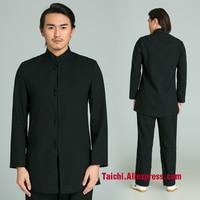 Black Martial Arts Suit Handmade Linen Tai Chi Uniform Wushu Kung Fu Wing Chun Uniform Chinese Style Clothes Meditation Outwear