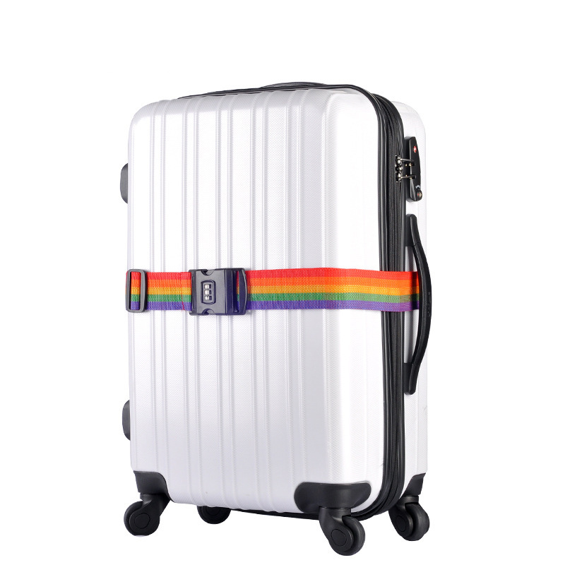 1pcs Rainbow Travel Luggage Suitcase Strap With 3 Digits Password Lock Suitcase Baggage Belt Strap 2m