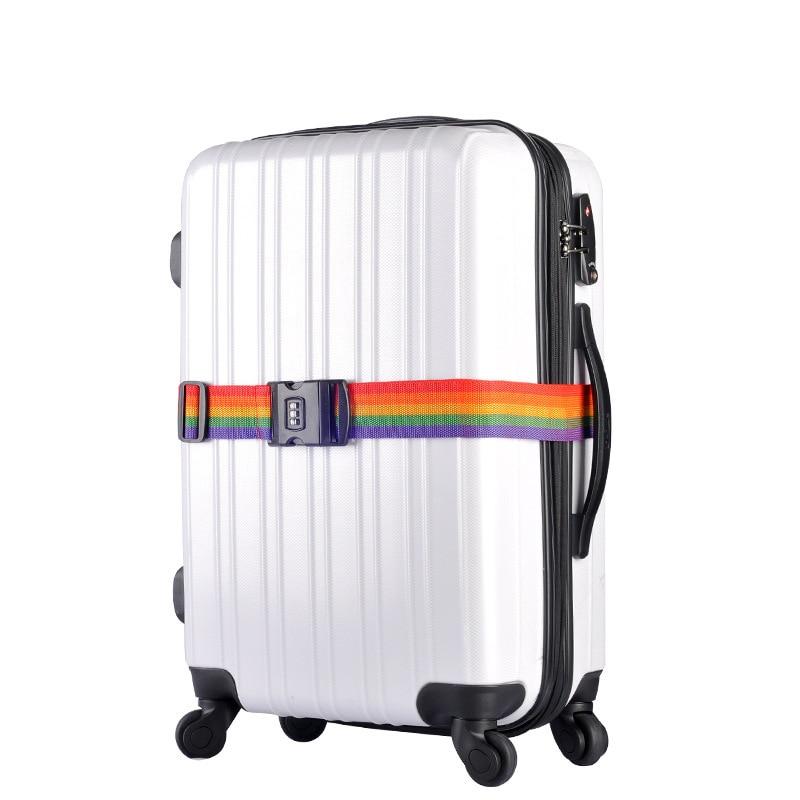 1pcs Rainbow Travel Luggage Suitcase Strap With 3 Digits Password Lock Suitcase Baggage Belt Strap 2m