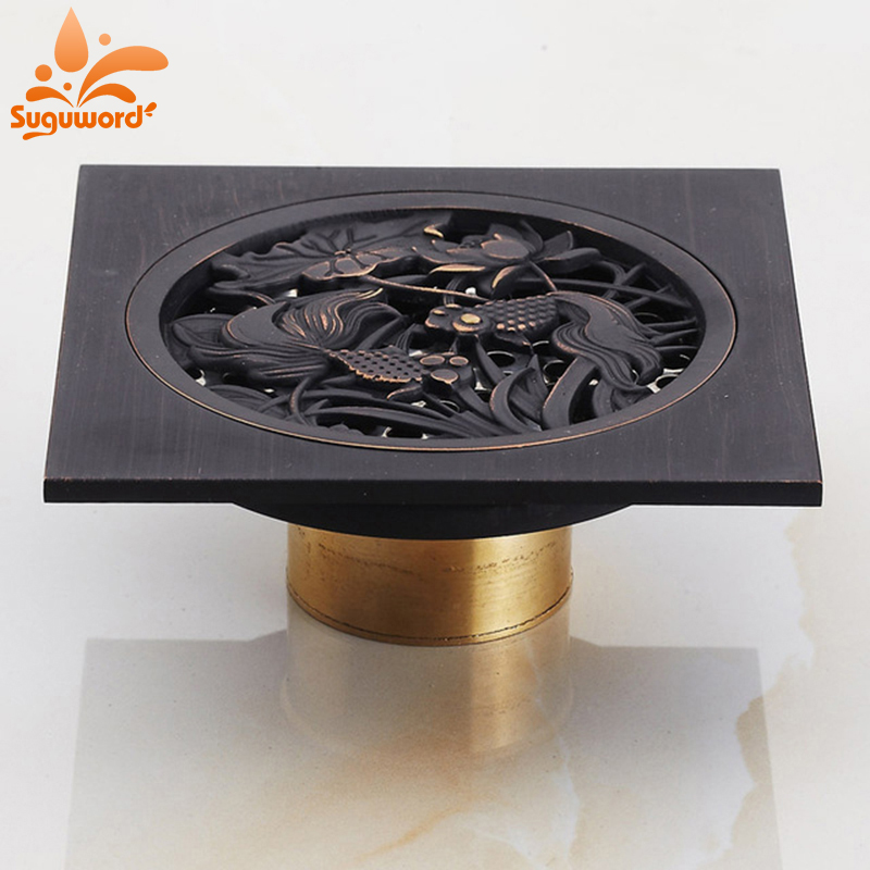 Oil Rubbed Bronze Bath Square Floor Drain Art Carved Square Strainer