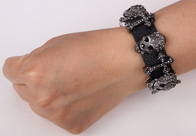 Smart Leather Crystal Cross & Skull Adjustable Bracelet