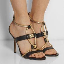 Chaussure Femme Sandale 2015 Plus Größe Damen Schuhe Zurück Dachte Nieten Hohen Dünnen Fersen Neu Kommen Elegante Alias Hombre