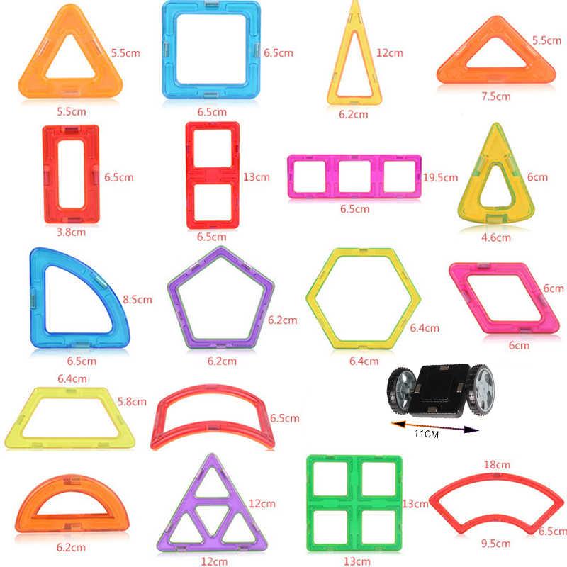 82 Uds. Bloques de construcción magnéticos de gran tamaño triángulo cuadrado diseñador de ladrillos iluminar juguetes magnéticos para regalo de niños