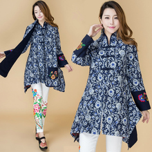 Spring and autumn national trend women s plus size outerwear medium long embroidery flower vintage tang