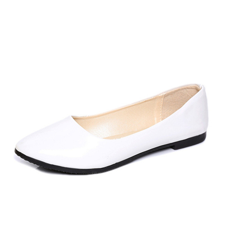 Plus Size 35-41 Sping Autumn Women Shoes Candy Color Ballet Flats Pointed Toe Loafers Patent Leather White Wedding Shoes
