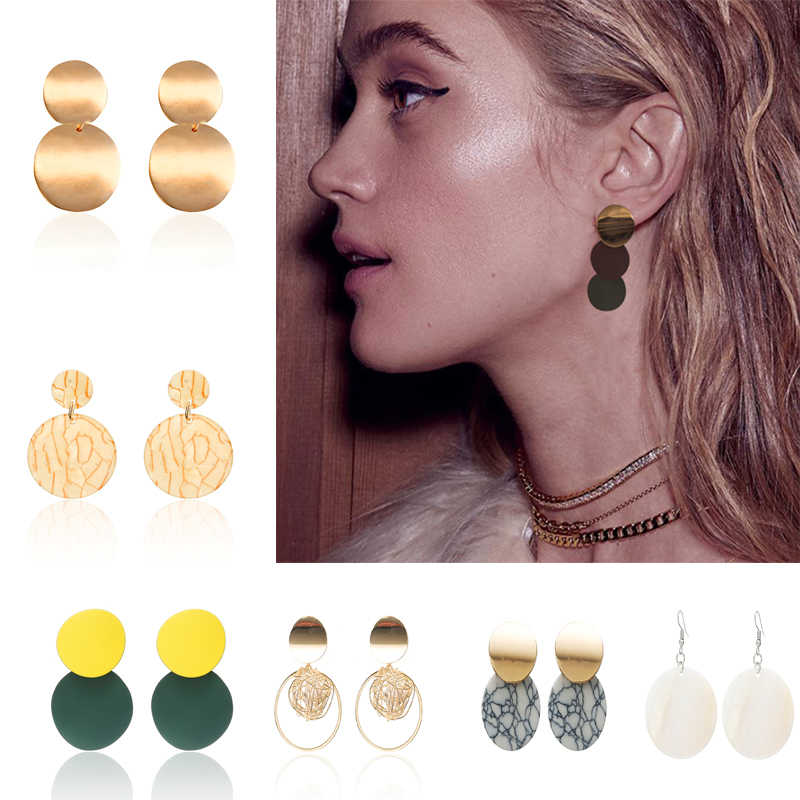Personality Unique Design Double Round Geometric Earrings Stone Shell Circle Earrings Korean Style Trendy Jewelry Metal Brincos