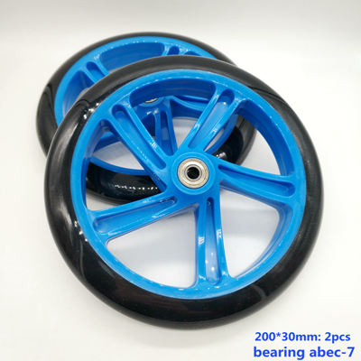 free shipping scooter wheel 200 mm PU high quality wheel thickness 30 mm ABEC-7 bearing