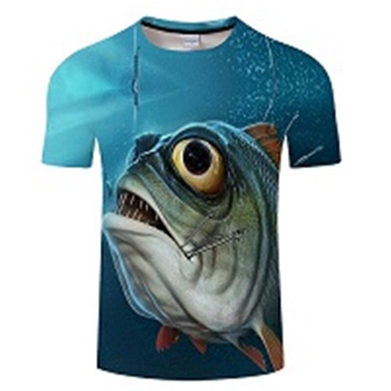 Новая футболка для рыбалки, стильная повседневная футболка с цифровым 3D принтом рыбы, мужская и женская футболка, летняя футболка с коротким рукавом и круглым вырезом, Топы И Футболки S-6XL - Цвет: TXKH427