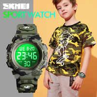Skmei moda crianças relógios esporte crianças relógio 5bar à prova dwaterproof água luzes coloridas 12/24 horas camuflagem relogio infantil 1548 menino
