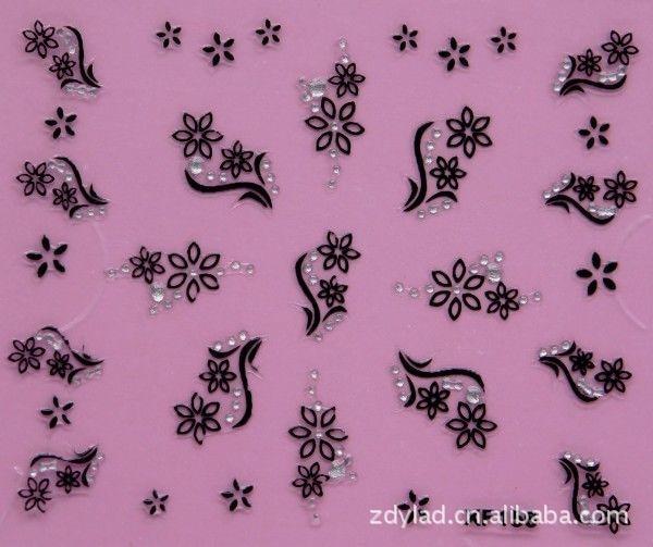 купить black 3D flower design Water Transfer Nails Art Sticker decals lady women manicure tools Nail Wraps Decals XF156 онлайн