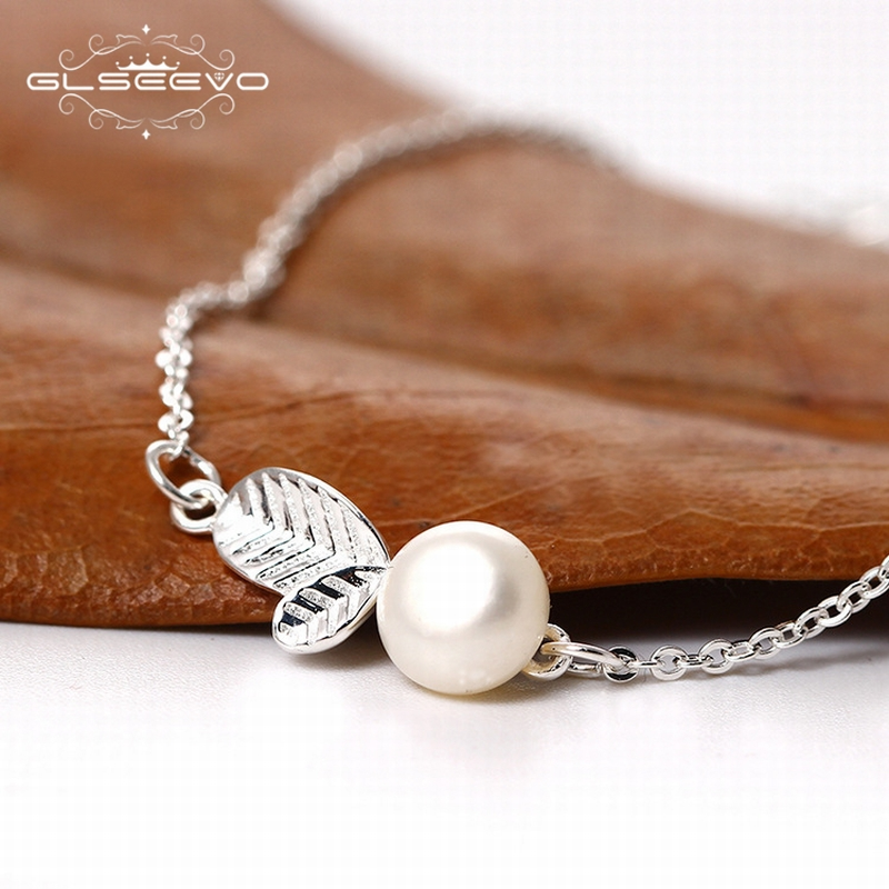 GLSEEVO 925 Sterling Silver Leaf Bracelets For Girls Adjustable Plant Hand Chain Pearl Bracelet Pulseira Fine Jewlery GB0016