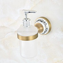 цены Antique Brass Bathroom Sink Soap Dispenser Liquid Soap Lotion Dispenser Pump Storage Holder Bottle Kitchen Replace Bottle zba814