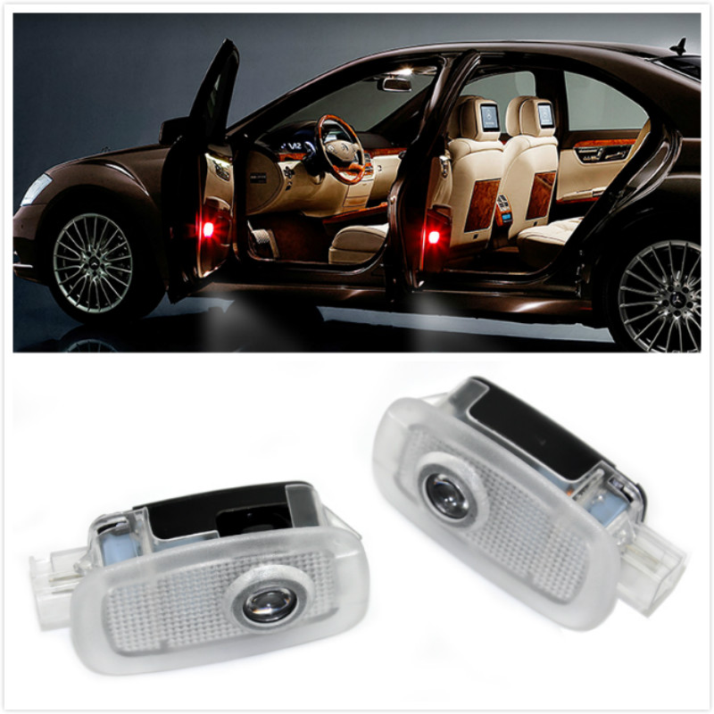 2pcs Car Door <font><b>Light</b></font> For Mercedes <font><b>Benz</b></font> AMG logo A B C E S M ML Class <font><b>W221</b></font> W447 AMG C216 S280 S300 S320 S350 S400 S420 S450 S500 image