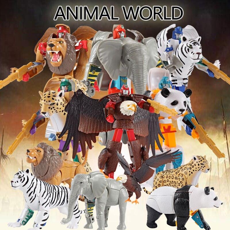 Animal Transform Robot Zoo Lion Tiger Eagle Souvenir The Same Children's Puzzle Robot Toy