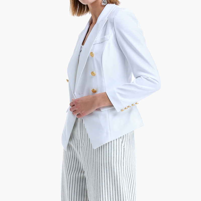 TOP QUALITY New Fashion 2019 Blazer Feminino Women's Double Breasted Metal Lion Buttons Blazer Outer