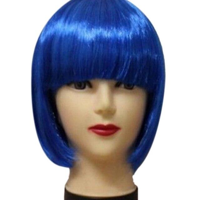 Corto las mujeres BOB Peluca de pelo recto flequillo fiesta Cosplay espectáculo 13 colores