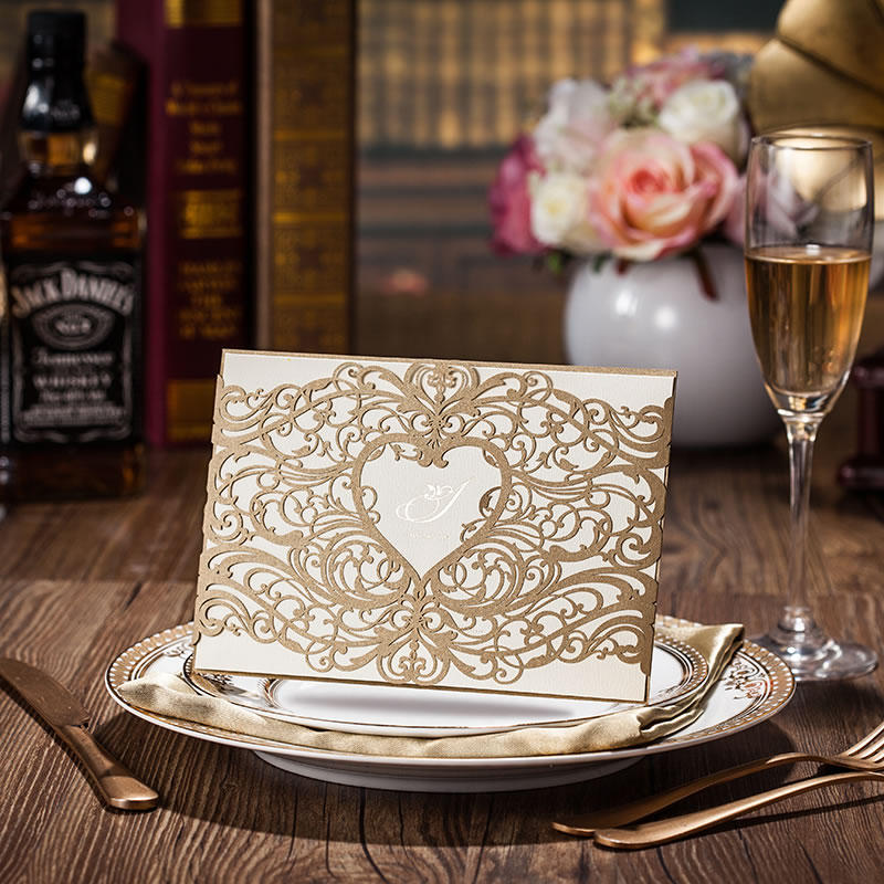 heart style laser cut wedding invitation cards red or gold