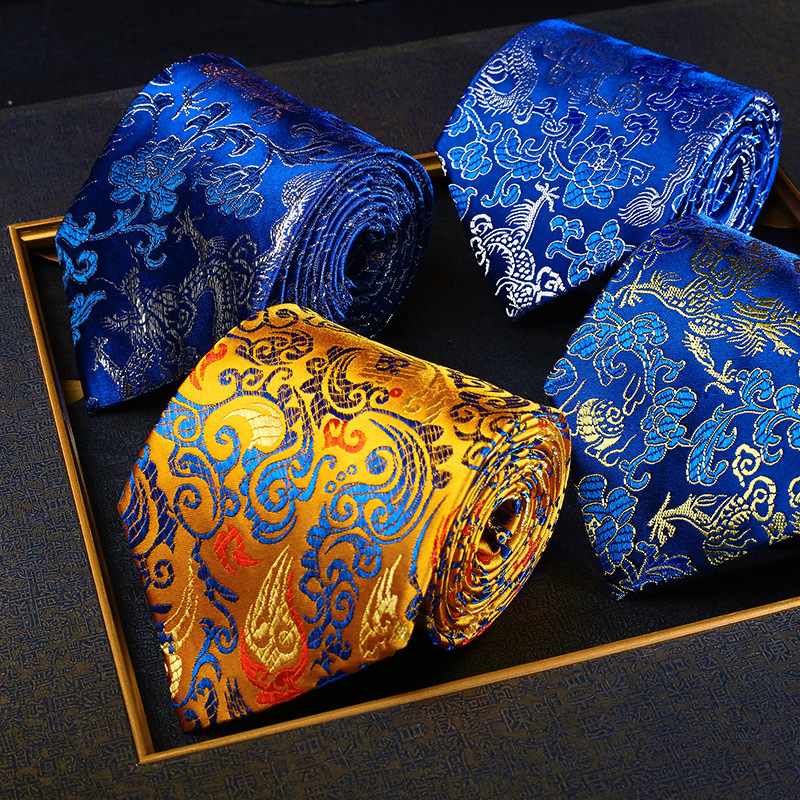 New Design Mens Tie Luxury Man Dragon Chinese Style Nanjing Yunjin Neckties Classic Office Business Casual Tie New Year Gift