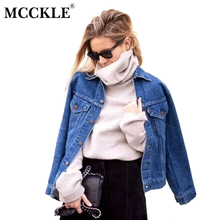 MCCKLE 2017 Autumn Women Denim jacket Vintage Designer Light Washed Jeans Coat Ladies Outerwear Casual Tops Jackets Female Coats
