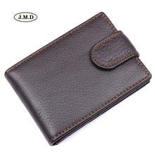 купить J.M.D Genuine Leather New Arrivals Dark Brown Fashion Men Mini Purse Portable Wallet Card Holder Money Pocket 8156C дешево