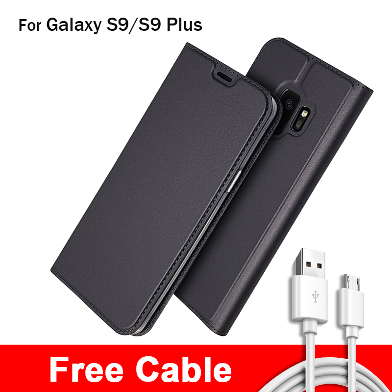 Galleria fotografica Wallet Case For Samsung Galaxy S9 Flip Phone Cover Elegant Leather Card Bag For Samsung Galaxy S9 Plus cover Free Cable Gift