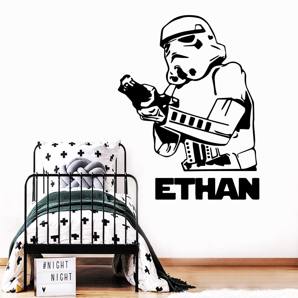 NEW Star Wars Custom Name Waterproof Mural Decals For Kids Baby Room Wall Stickers Star War Wall Art Decor Vinyl Decal in Wall Stickers from Home Garden