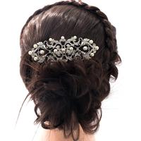 Rhinestone Crystal Flower Hairpins Comb With Faux Pearl Tiara Women Hair Accessories Wedding Bridesmaid Bridal Wholesale