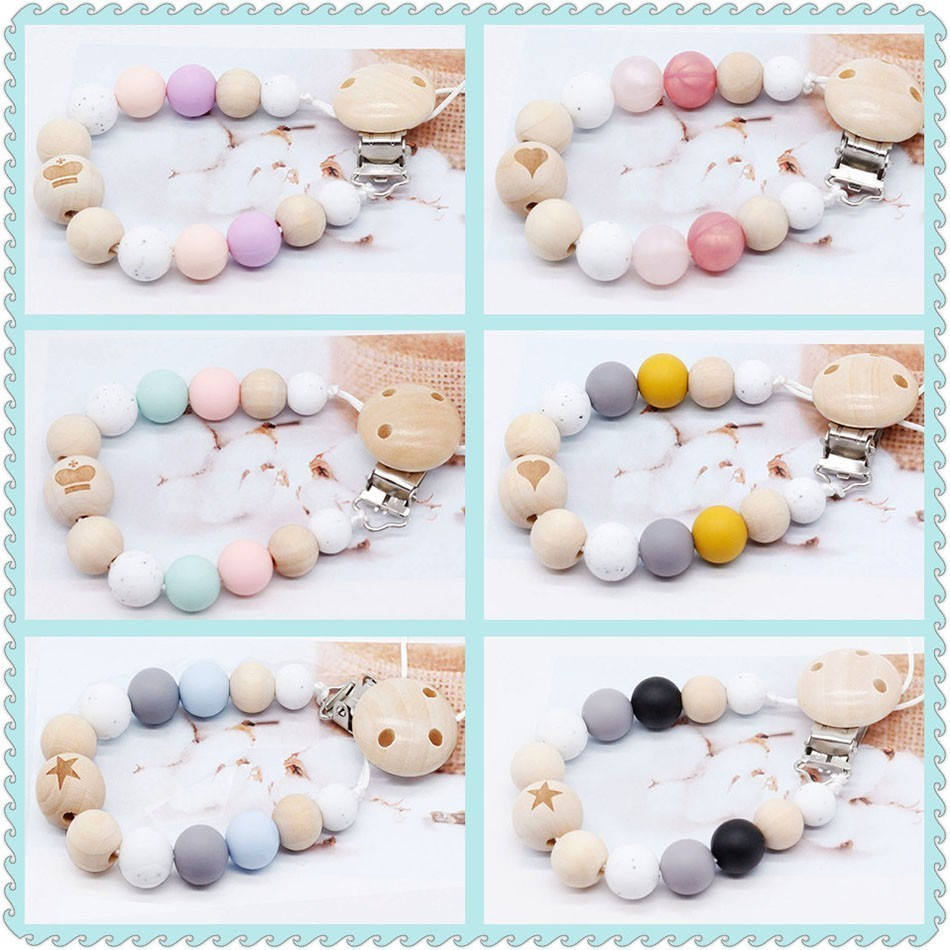 Baby Silicone Pacifier Clip Chain Dummy Clip Binky Clip Gift Candy Teether Toy Wooden Beads Fit Girl Boy Chewable Toy