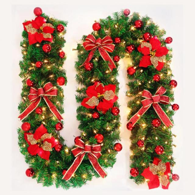 Us 30 62 11 Off 270cm Original Green Christmas Garland With Bows Lights Party Decoration Pvc Rattan Ornament Merry Xmas Rattan Christmas Wreath In