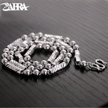 ZABRA 925 Silver 4mm 46/51cm Vintage Long Round Sexangle Mens Chain Necklace Steampunk Retro Fashion Men Sterling Jewelry