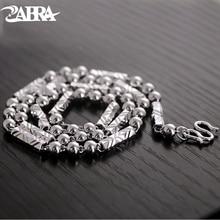 ZABRA Cadena de Plata de Ley 925 de 4mm y 46/51cm para hombre, collar de cadena, Estilo Vintage, Steampunk, Retro, joyería plata de ley