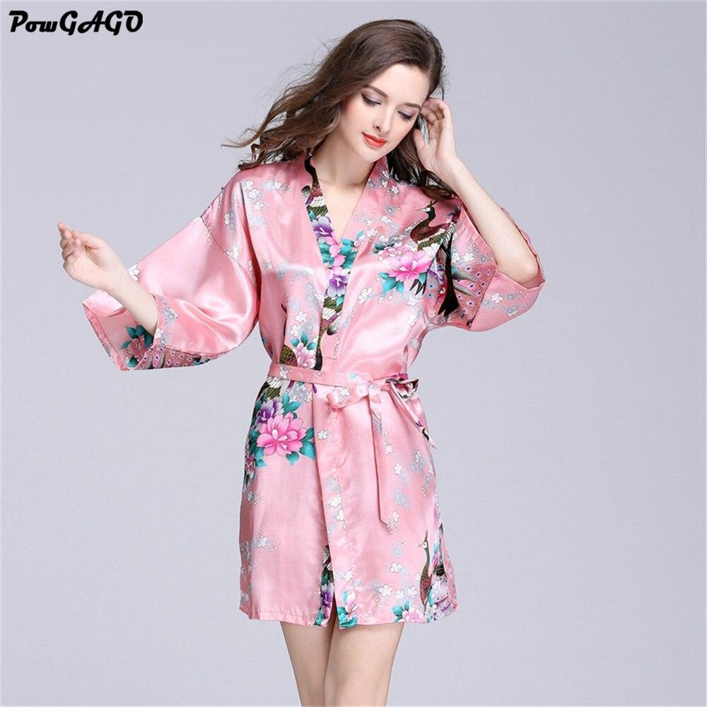 Pavo real del Traje de Seda del Kimono Robes Albornoz Bata Sexy ...