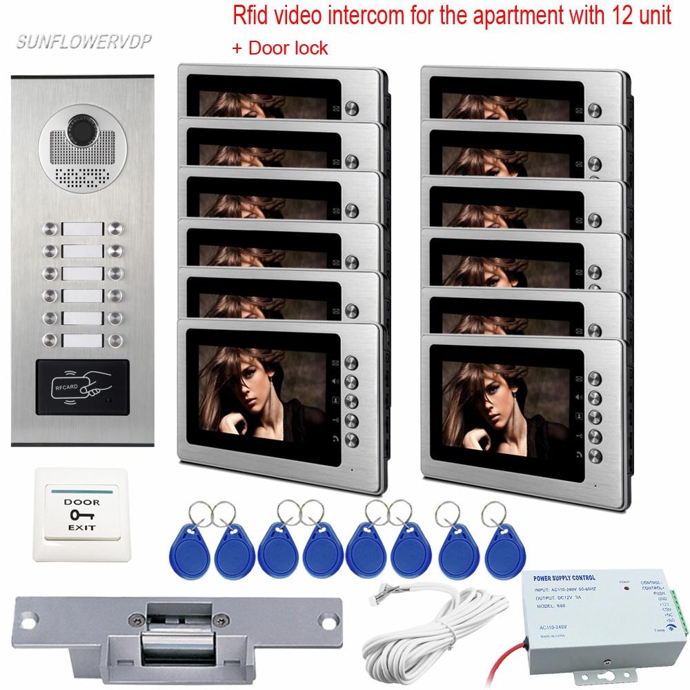 Access Intercom Rfid 12 Buttons Doorbell With Camera Video Call 7