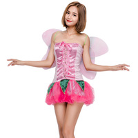 Mignon Rose Fée Princesse Papillon Esprit Cosplay Robe Halloween Jeu Costume Performance Costume Exotique Vêtements Ailes 8890H231