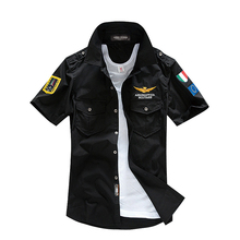 Summer Air Force One Bomber Military Shirts Men Army Short-Sleeved Shirts Embroidery Epaulet Casual Camisa Masculina	uniform