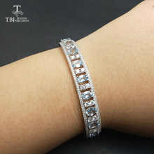 TBJ,2017 New 925 silver bangle with 4ct natural aquamarine ov4*6mm gemstone bangle in 925 silver fine jewelry for women as gift