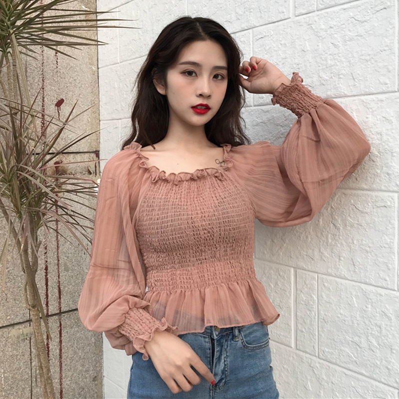 2018 fashion Women   Blouse     shirts   Autumn new women's clothing Slash neck lantern sleeves chiffon   shirt